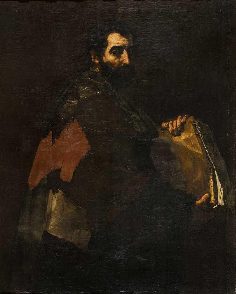 Filósofo con libro. Círculo de José de Ribera. Óleo sobre lienzo. Barroco. Ca. 1630-1635.