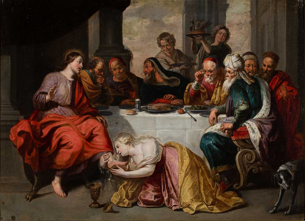 Jesús en casa de Simón el fariseo. Escuela flamenca. Óleo sobre cobre. Barroco. S.XVII.
