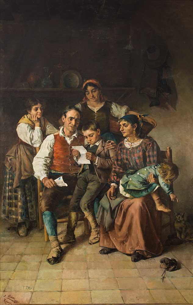 La carta del hijo ausente. Maximino Peña Muñoz. Óleo sobre lienzo. 1887.