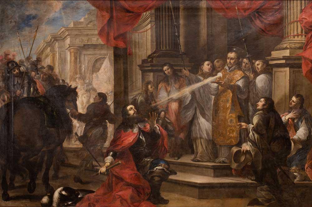 La conversión del Duque Guillermo de Aquitania. Vicente Berdusán. Óleo sobre lienzo. Barroco. 1673.