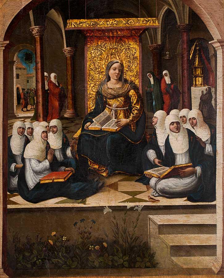 La escuela de las Vírgenes. Anónimo. Óleo sobre tabla. Renacimiento. Hacia 1555-1559.