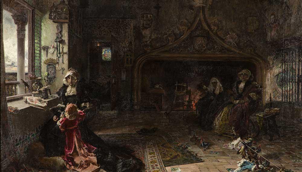 La reina doña Juana la loca, recluida en Tordesillas junto a su hija la infanta doña Catalina. Francisco Pradilla. Óleo sobre lienzo. 1907.