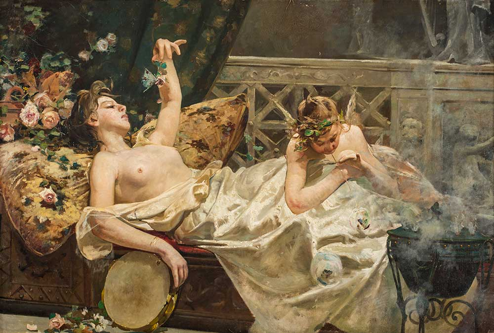 Motivo decorativo: ninfa de las mariposas o escena pompeyana. Casto Plasencia. Óleo sobre lienzo. 1876.