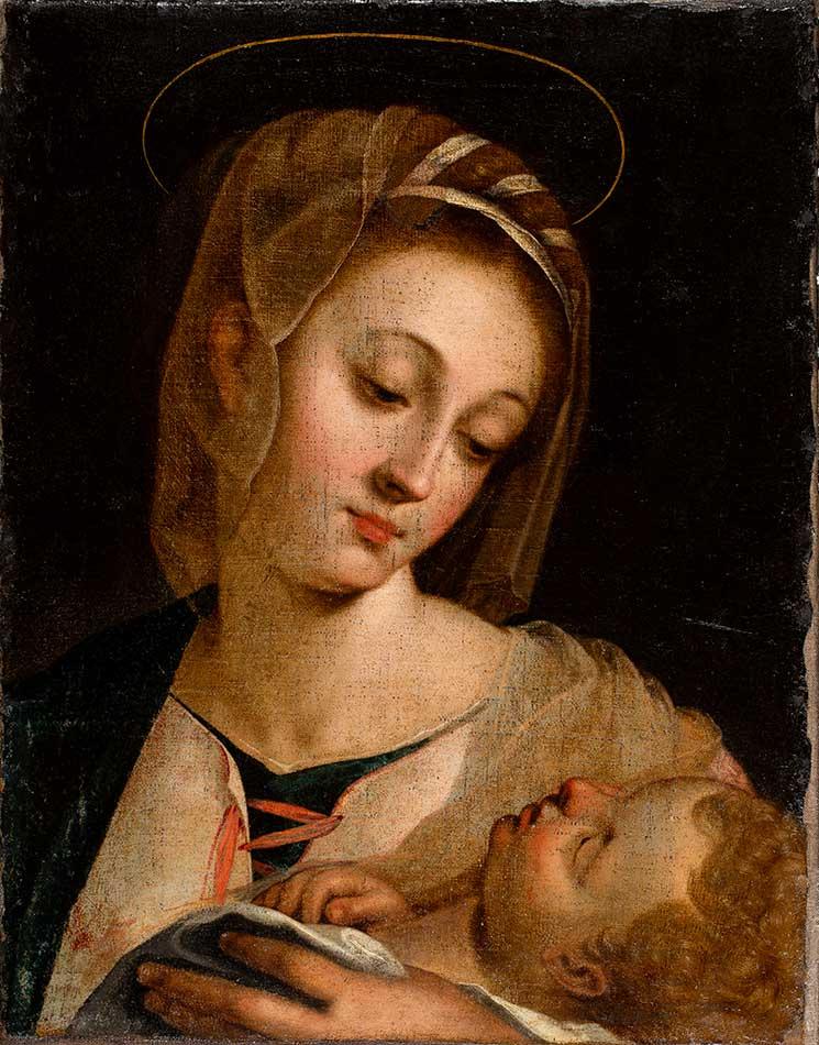 Nuestra señora con el Niño en brazos. Anónimo. Óleo sobre lienzo. Renacimiento. Hacia 1600.