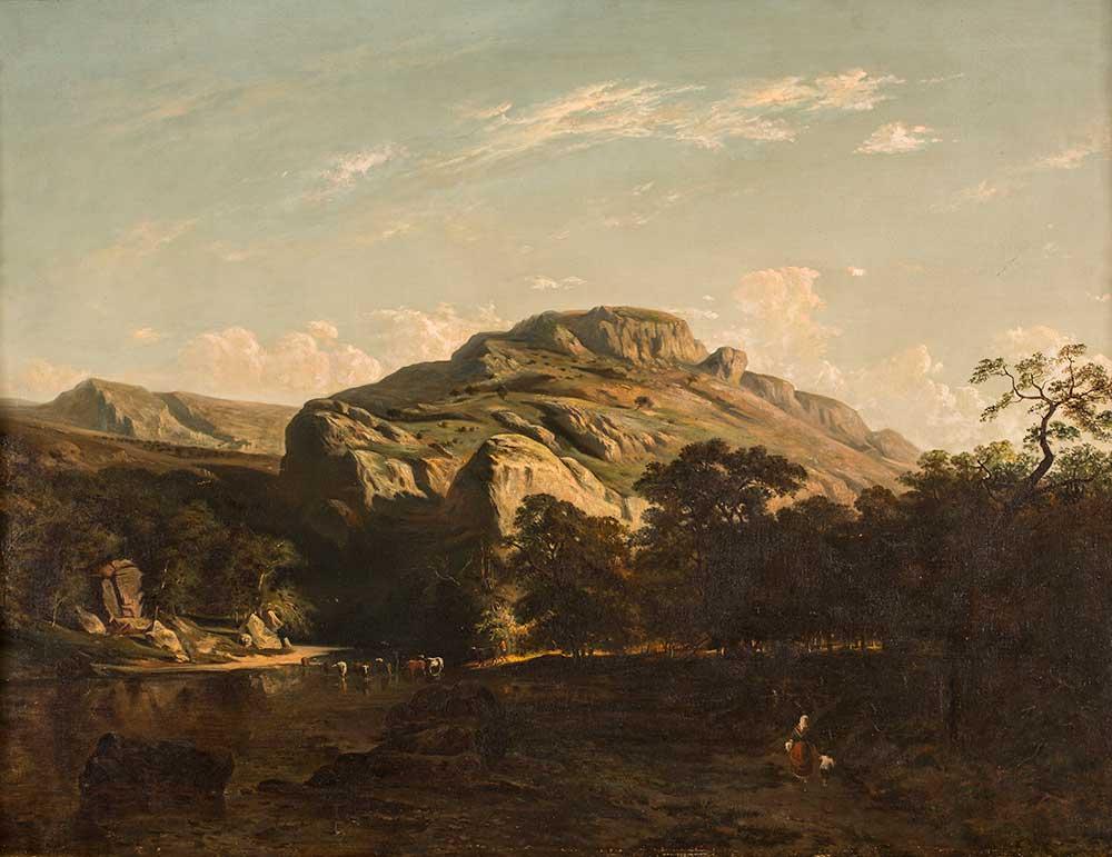 Paisaje de bosque y río. Carlos de Haes. Óleo sobre lienzo. 1855-1870.