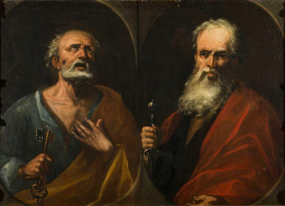 San Pedro y san Pablo. Pablo Rabiella y Diez de Aux. Óleo sobre lienzo. Barroco. Ca. 1700.