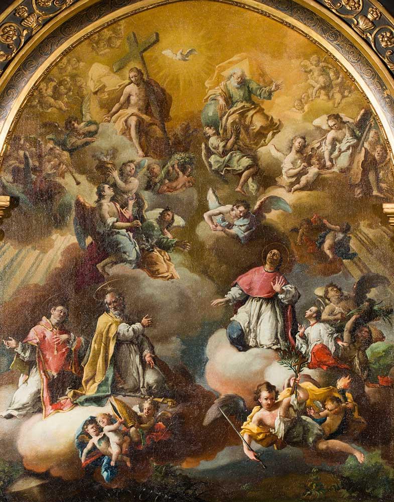 San Valero, san Vicente Mártir, san Pedro Arbués y santo Dominguito de Val, en la Gloria. José Luzán. Óleo sobre lienzo. Barroco. 1757.