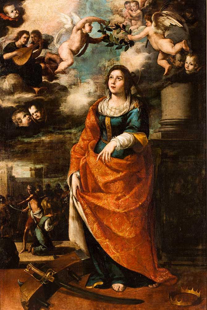 Santa Catalina de Alejandría. Escuela sevillana. Óleo sobre lienzo. Barroco. 1650.