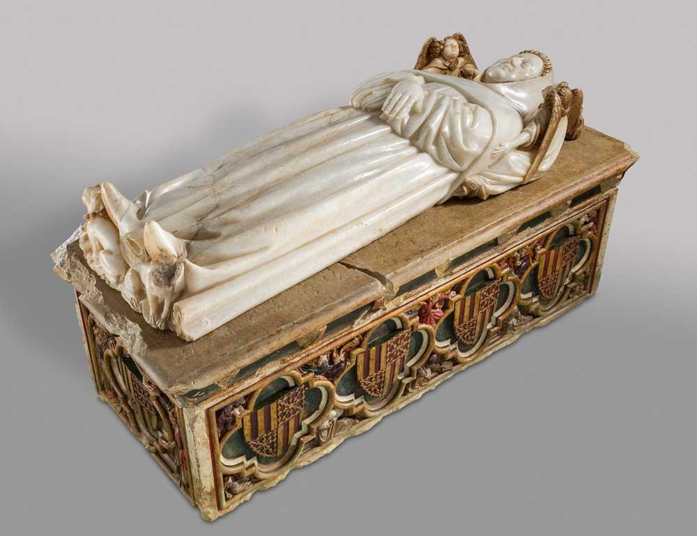 Sepulcro de don Pedro Fernández de Híjar. Anónimo. Arenisca y alabastro tallados y policromados. Renacimiento. 1400-1401.