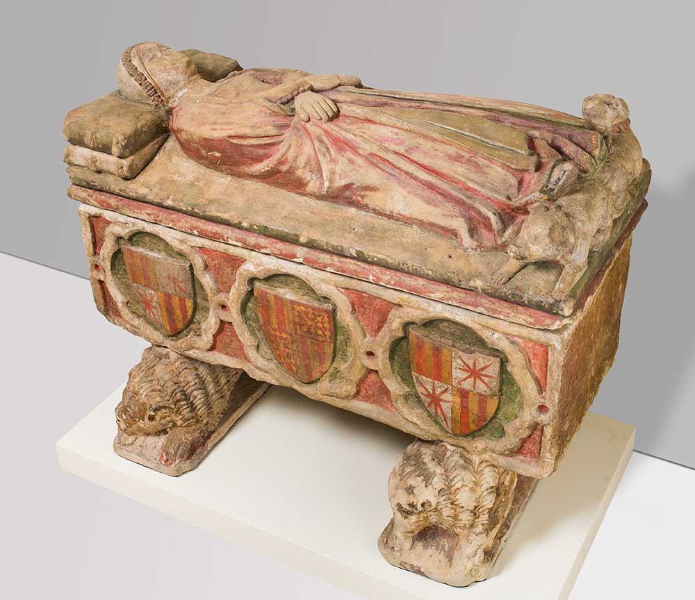 Sepulcro de doña Isabel de Castro. Anónimo. Arenisca tallada y policromada. Renacimiento. Siglo XIV.
