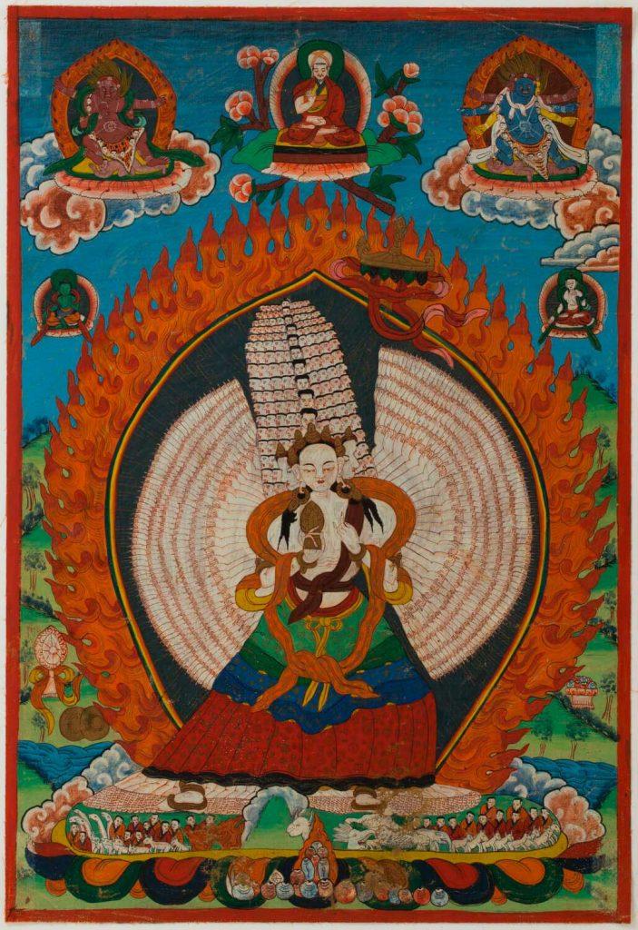 Tanka Sitatapatra-Aparajita. Pintura sobre tela. Tíbet. S. XVIII.