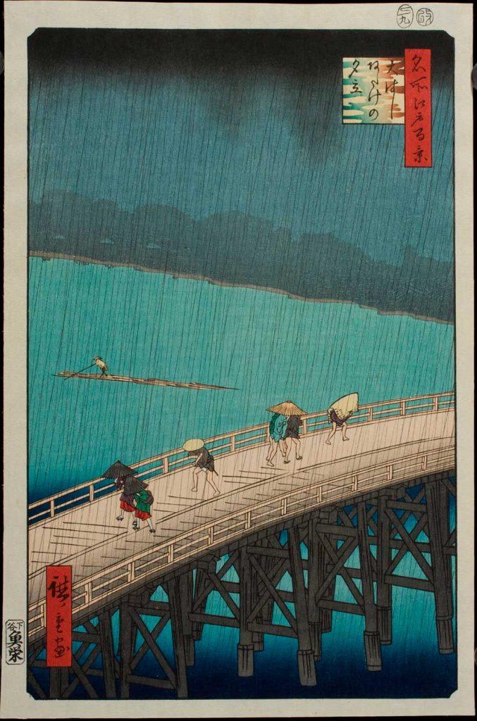 Tormenta sobre el gran puente de Atake. Utagawa Hiroshige. Escuela Ukiyo-e. Estampa xilográfica nishiki-e.