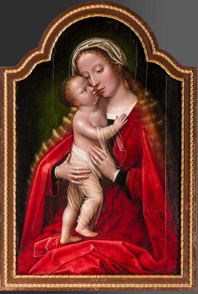 La Virgen con el Niño. Guillaume Benson. Óleo sobre tabla. Renacimiento, c.1545-1555.