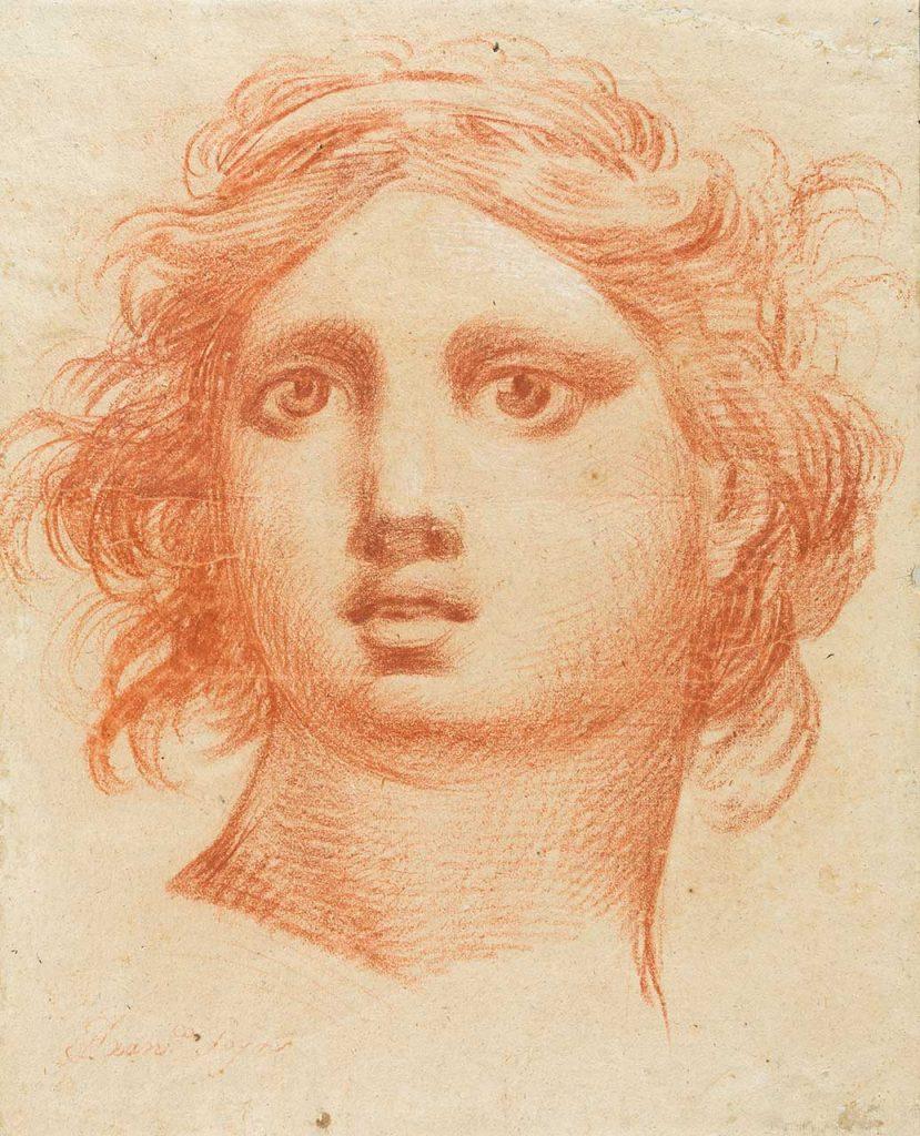 Cabeza de ángel. Francisco de Goya y Lucientes. Lápiz a sanguina sobre papel. 1772.