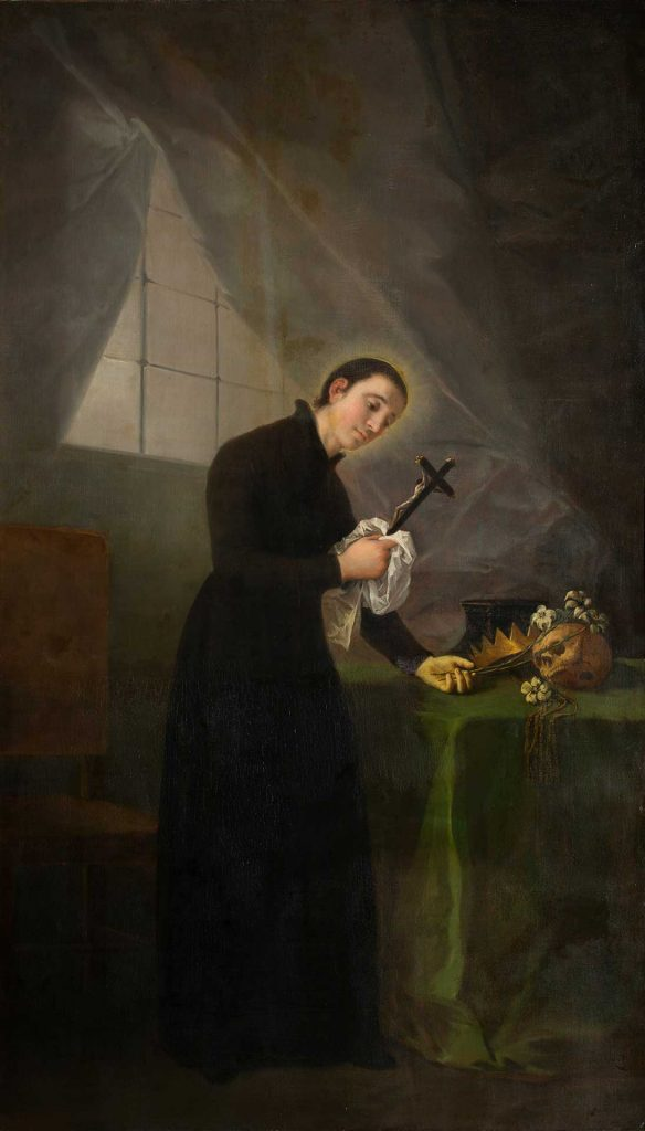 San Luis Gonzaga meditando en su estudio ante un crucifijo. Francisco de Goya y Lucientes. Óleo sobre lienzo. Hacia 1798.
