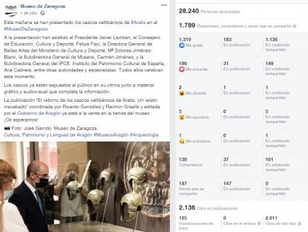 Publicación de la presentación de los cascos de Aratis en Facebook. Foto: Museo de Zaragoza.