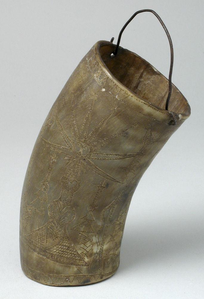 Cuerna tallada. Asta, madera y metal. Siglos XIX-XX. Aragón. Inv. 36096.