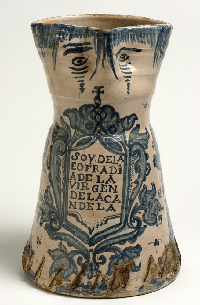 Jarra decorada con inscripción. Alfares de Muel . Cerámica. Segunda mitad del siglo XVIII. Inv. 01286
