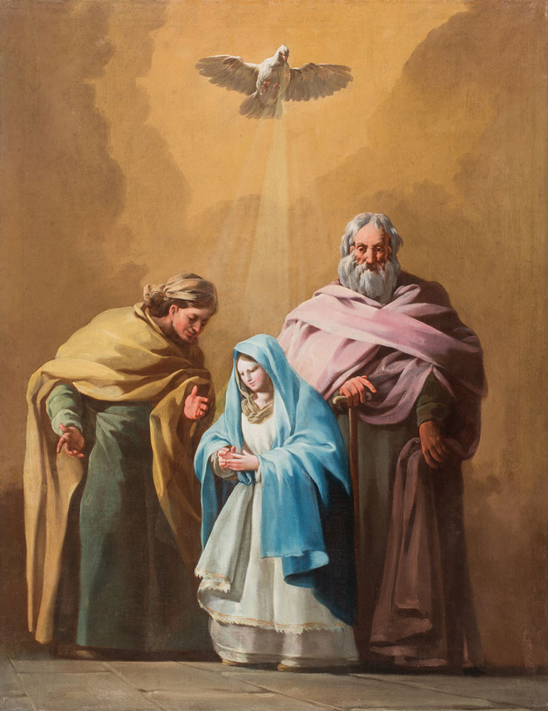 San Joaquín, Santa Ana y la Virgen María. Francisco de Goya y Lucientes. Óleo sobre lienzo. Ca.1774, Inv. 63360