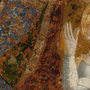 La Dormición de María. Detalle del alma en figura de niña vestida de blanco.